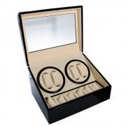 Cutie neagra rotire 4 ceasuri automate + 6 spatii pentru ceasuri