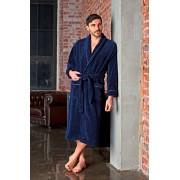 Five Wien Длинный классический мужской халат из бамбукового волокна синего цвета Five Wien FW1016 Синий