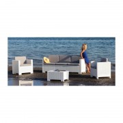 Conjunto acacia de poliratán 2 sillones, 1 sofá y 1 mesa, poliratán