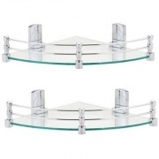 Kurvz Multi-Purpose Glass Corner Shelf with Heavy Wall Brackets(Glossy)- 8x8 Inches Pack of 2