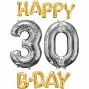 Vegaoo 4 Aluminium-Ballons Happy Bday 30 gold-silber