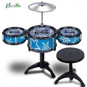 HATCHMATIC Jazz Drum and Chair Set Kids Early Education Toys Percussion Instrument Playing Drum Set Kit with 3 Drums Drum Set for Kids: 2 Blue