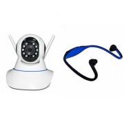 Zemini Wifi CCTV Camera and BS19C Bluetooth Headset for SAMSUNG GALAXY E 5(Wifi CCTV Camera with night vision |BS19C Bluetooth Headset With Mic )