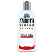 Hair Gel for Men - Strong Hold Styling Product - Adds Body & Shine - Good for All Hairstyles - Trendy Curly Straight Wavy & Modern - Works on Wet Dry Thin or Thick Hair - Smooth Viking - 8 OZ