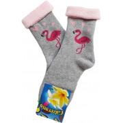 Flamingó - visszahajtós frottír zokni