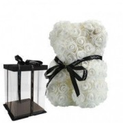 Ursulet Urs Rose Bear din Trandafiri Albi Decorat Manual inaltime 25 cm - Cadoul Perfect