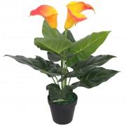 vidaXL Изкуствено растение кала със саксия, 45 см, червено и жълто