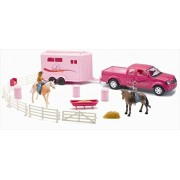 New Ray Ss 37335 Pink Pick Up Truck With Horse Trailer Playset, Pack Of 6