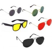A & T Wayfarer, Round, Aviator Sunglasses(Red, Black, Golden, Yellow)