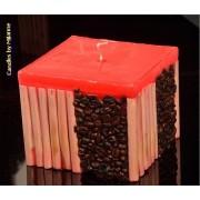 kaarsen: Koffie bamboe kaars ROOD