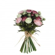 Shoppartners Roze/wit Ranunculus/ranonkel kunstbloemen boeket 35 cm