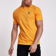 River Island Mens Yellow rose embroidered slim fit T-shirt - Size M (E