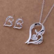 Set placat argint colier si cercei inimioare Eighty-seven