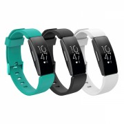 Set 3 curele din silicon pentru Fitbit Inspire / Inspire HR cu telescop QuickRelease, negru, alb, turcoaz