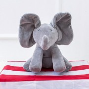 Gotovang 30CM Peek a boo Elephant Plush Toy Electronic Puppy Dog Play Hide and Seek Baby Kids Soft Doll Birthday Gift for Children