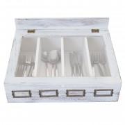 Besteckkiste HWC-C25, Aufbewahrung Kasten Holzbox mit Deckel, Paulownia shabby weiß 37x33x17cm ~ Variantenangebot
