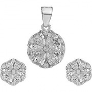 92.5 Sterling Silver Cubic Zirconia Studded Cluster Round Pendant Earrings Set for Women and Girls