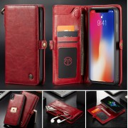 CASEME Qin Series Detachable 2-in-1 Split Leather Wallet Case for iPhone Xs Max 6.5 inch - Red