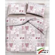 Completo Lenzuola Letto Matrimoniale Made in Italy Puro Cotone SHABBY-ROSA