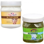 PINK ROOT DE TAN MASK 500GM WITH ALOEVERA SCRUB 500GM