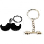 KD COLLECTIONS Moustache Mooch Shaped metallic Key Chain Dumble Metal Keychain Keyring-COMBO-Pack of 2 Keychains