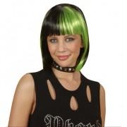 Merkloos Boblijn pruik zwart met groen