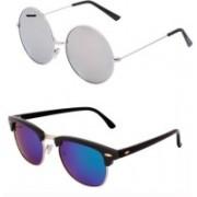 Barbarik Round, Clubmaster Sunglasses(Silver, Multicolor)