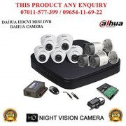 Dahua 1 MP HDCVI 8CH DVR + Dahua HDCVI Bullet Camera 3Pcs and Dome Camera 5Pcs + 1TB HDD + POWER SUPLAY + BNC + DC