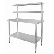 Stainless Steel Table with Overshelves 1200 W x 600 D