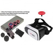 Mobile camera Lens 3 in 1 with free VR Box (Assorted Color )