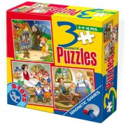 Puzzle magnetic D-Toys - Pinocchio, Hansel, Gretel and Blanche Neige, 6/9/16 piese (Dtoys-60778)