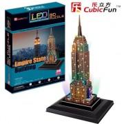 Puzzle CubicFun Empire State Building cu lumina LED 3D cu 38 piese