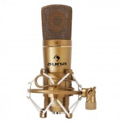 Auna CM600 USB-kondensatormikrofon bronsfärgad studio kardioid Ad-omvandlare
