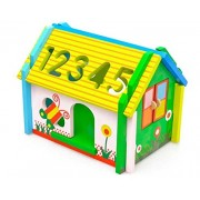 FunBlast Wooden House Toy for Kids, Shape Matching Blocks, Educational Digital Number, Shapes and Symbol Cognition Wisdom House, Wooden Puzzle Game Toy