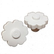 Lego Parts: Plant Flower 2 x 2 - Rounded Solid Stud (PACK of 2 White Flowers)