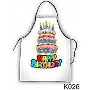 Happy Birthday tortás 026 - Tréfás kötény