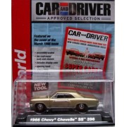 AUTO WORLD CAR AND DRIVER MAGAZINE EDITION GOLD 1:64 SCALE CHEVY CHEVELLE SS 396 DIE-CAST, AUTO WORLD DIE-CAST CHEVELLE