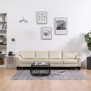 vidaXL 4-местен диван, кремав, текстил
