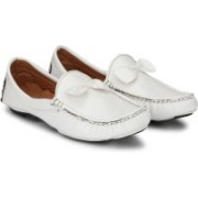 Big Fox Patent Bow Tie Loafers For Men(White)