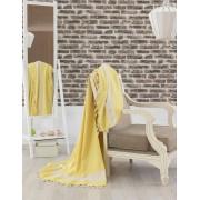 Cuvertura pat dublu cu ciucuri Eponj Elmas - Yellow