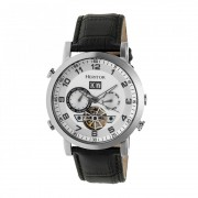 Heritor Automatic Edmond Leather-Band Watch w/Date - Silver HERHR6201