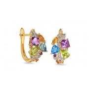 Zlaté náušnice s drahými kameny a diamanty 0,090 ct IZBR619N