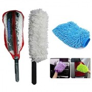 Takecare Car Cleaning Kit Long Microfiber Duster With Microfiber Glove For Mahindra Xuv 500 New 2015