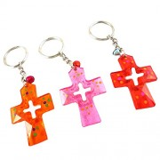 eshoppee jesus christ cross keyring key chain, set of 3 pcs (multi 1)