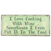 geschenkidee.ch Blechschild I Love Cooking with Wine