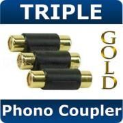 Qty 3 Triple 3 x RCA / Phono Coupler GoldQualty Adapter