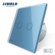 Intrerupator draperie wireless cu touch Livolo din sticla, albastru