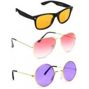 Elligator Aviator, Wayfarer, Round Sunglasses(Yellow, Pink, Violet)
