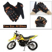 AutoStark Gloves KTM Bike Riding Gloves Orange and Black Riding Gloves Free Size For Hero Impulse