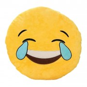Soft Smiley Emoticon Yellow Round Cushion Pillow Stuffed Plush Toy Doll (Laugh To Tears)